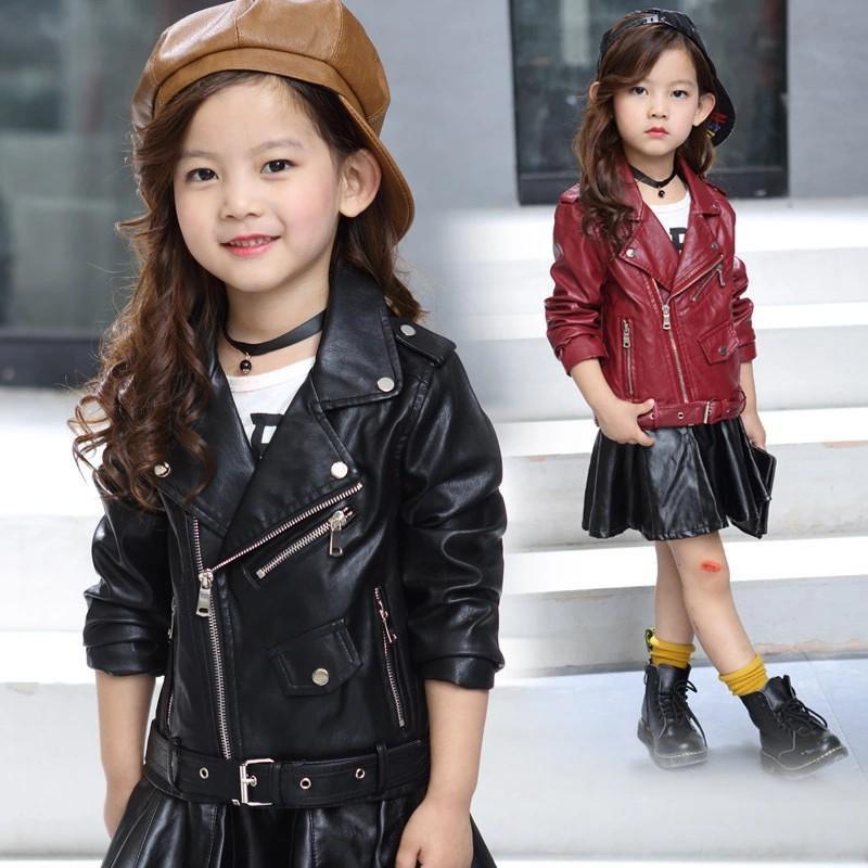 بنات أطفال سترة جلدية وصول جديد بنات بنين معاطف الخريف سترات الاطفال عارضة الأسود الوردي الصلبة الأطفال ملابس خارجية