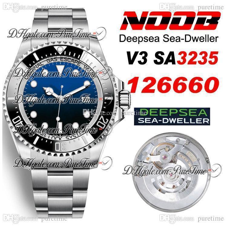 2020 V3 Derin Deniz-Dweller SA3235 Otomatik Erkek İzle Siyah Seramik Çerçeve D-Mavi Dial 904L STEET En Iyi Baskı Yeni 126660 PTRX Puretime 5A3