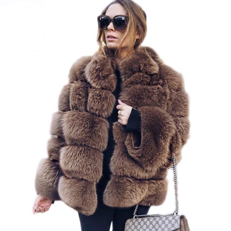 Женский меховой FUX 2021 зимнее теплое пальто Женщины плюс размер с длинным рукавом женские XXXL 4XL Fashions