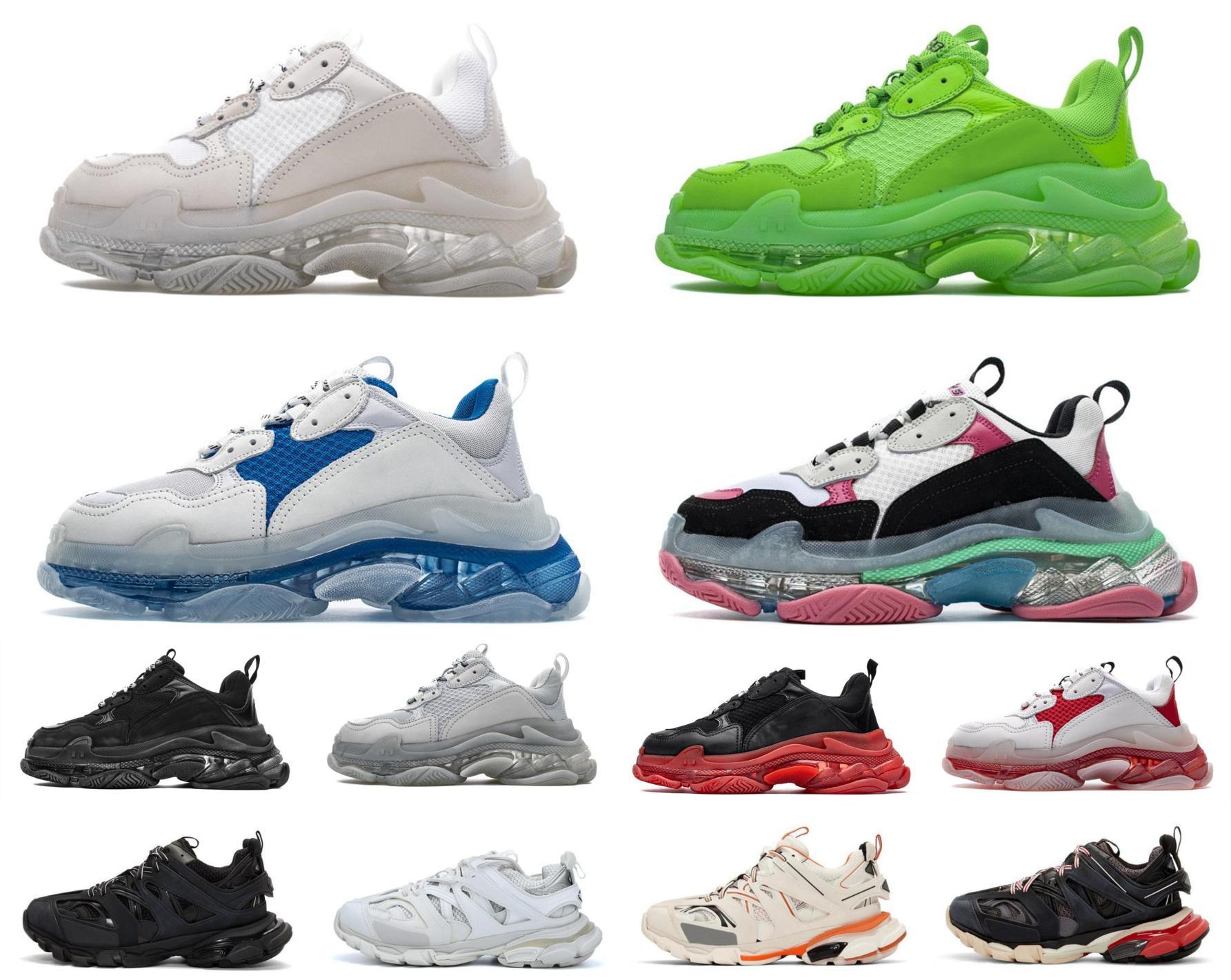 Balenciaga shoes Triple-s رجل مسار تنس عارضة أحذية رياضية 17FW الأحذية المباشرة عشاق العلامة التجارية الأخضر المرأة منصة واضح الوردي أبي الرياضة تيبلر