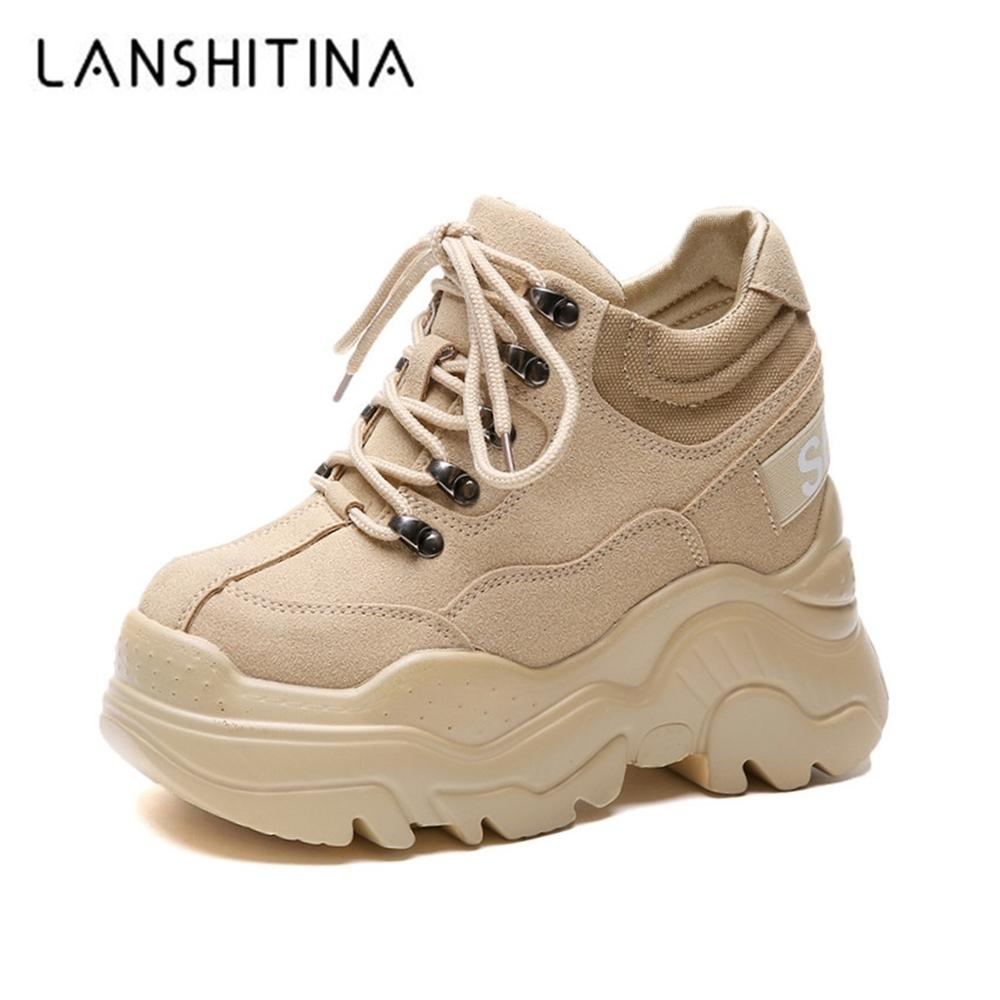 2019 Spring High Platform Boots 12CM High Heel Women Thick Sole Shoes Leather Wedge Sneakers Waterproof Breathable Casual Shoes Y200723