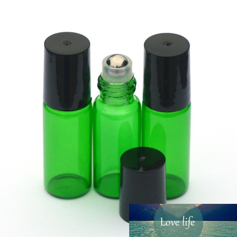 1pcs Parfum vert 5ml Rouleau bouteille en verre vide Essential bouteille d'huile 5ml Roll-On bouteille en plastique noir Cap Livraison rapide