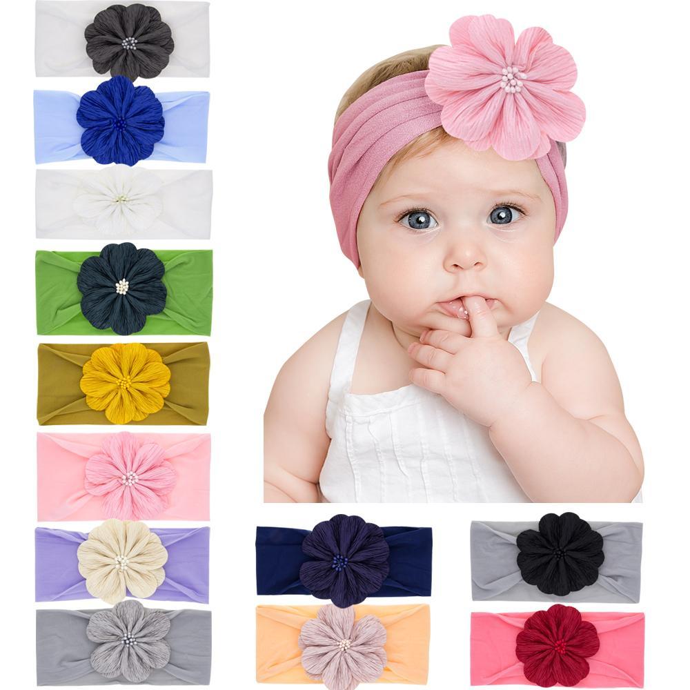 Детские нейлон повязки цветок цветок эластичные волосы младенцы дети головные одежды головной убор детей дети девушка элегантные аксессуары для волос wkha36