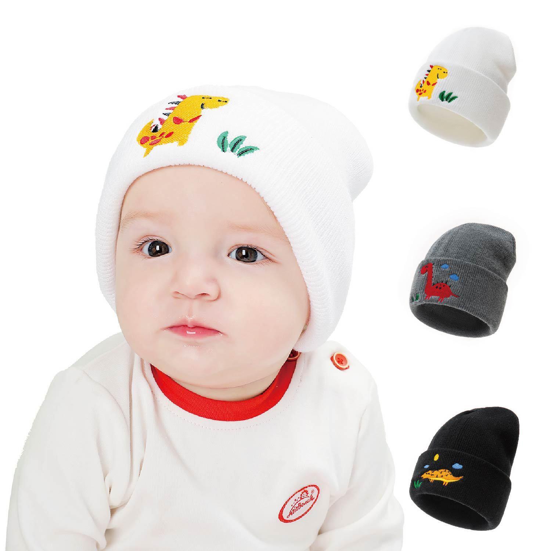 Dinosaurier-Stickerei New Baby Hat Winter Hutbabyhut für Jungen, Mädchen, Strickmütze Winter warm Fest Farbe Kinder Kappe