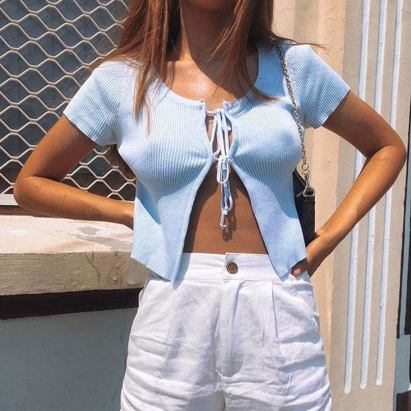 Femme Cardigan Hauts Vêtements pour cultures femmes d'été tricotée Cardigans manches Fashion Casual Basic Lace Up court Femmes