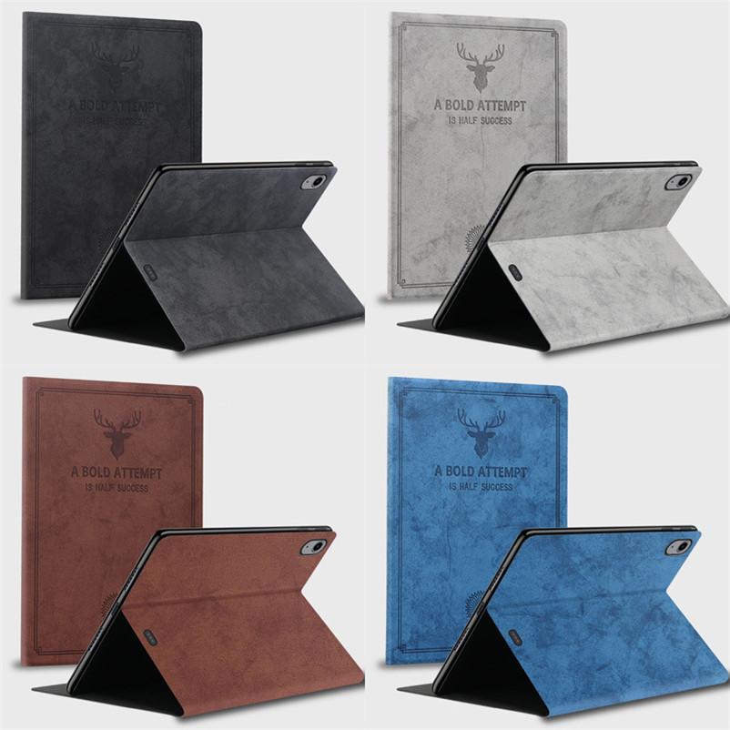Para 12.9 2020 iPad Pro 12.9 2018/2019 Caso de tableta de alta calidad iPad Air4 10.9 Caja de tarjeta de cuero de Classic Elk Pattern IPAD