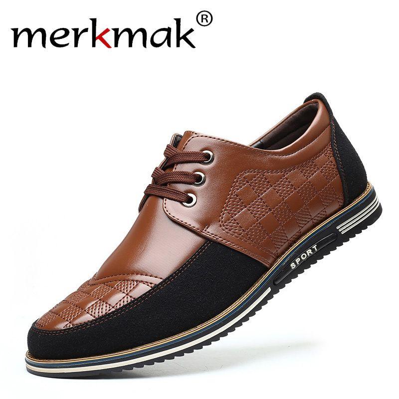 Merkmak мужчины повседневные туфли весна осень кожаные мужские туфли мода мужские мокасины Италия мужской бизнес свадебное платье обувь больший размер 48 lj201023