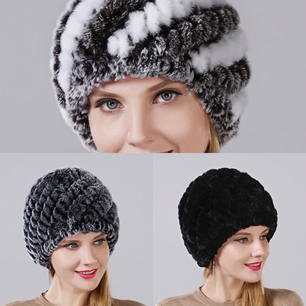 New Hot 100% Genuine Knitted Rex Hat Winter Lady Floral Cap Female Women Rabbit Fur Beanies Hats Free Shipping 1A57