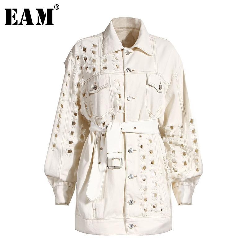 [EAM] Fori Loose Fit Beige Bandage grande formato Giacca di jeans nuovo risvolto manica lunga donne cappotto marea moda Primavera Autunno 1Y917 201021