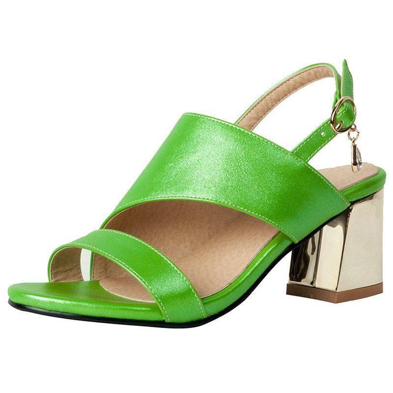 Sandali Golden Green Gladiator Donne Summer Block Tacchi alti Tacchi alti Dress Shoes Slingback Sandalo Big Size 43 44