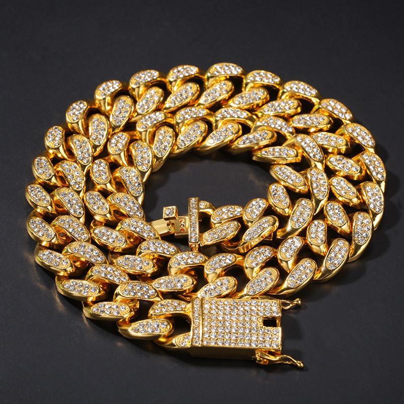 Cadenas de hielo para hombres con Rhinestone y Mujeres Collar de oro Hombre Hip Hop Bling Cadenas Joyería Hombres Enlace Cubano Epacket de acero inoxidable