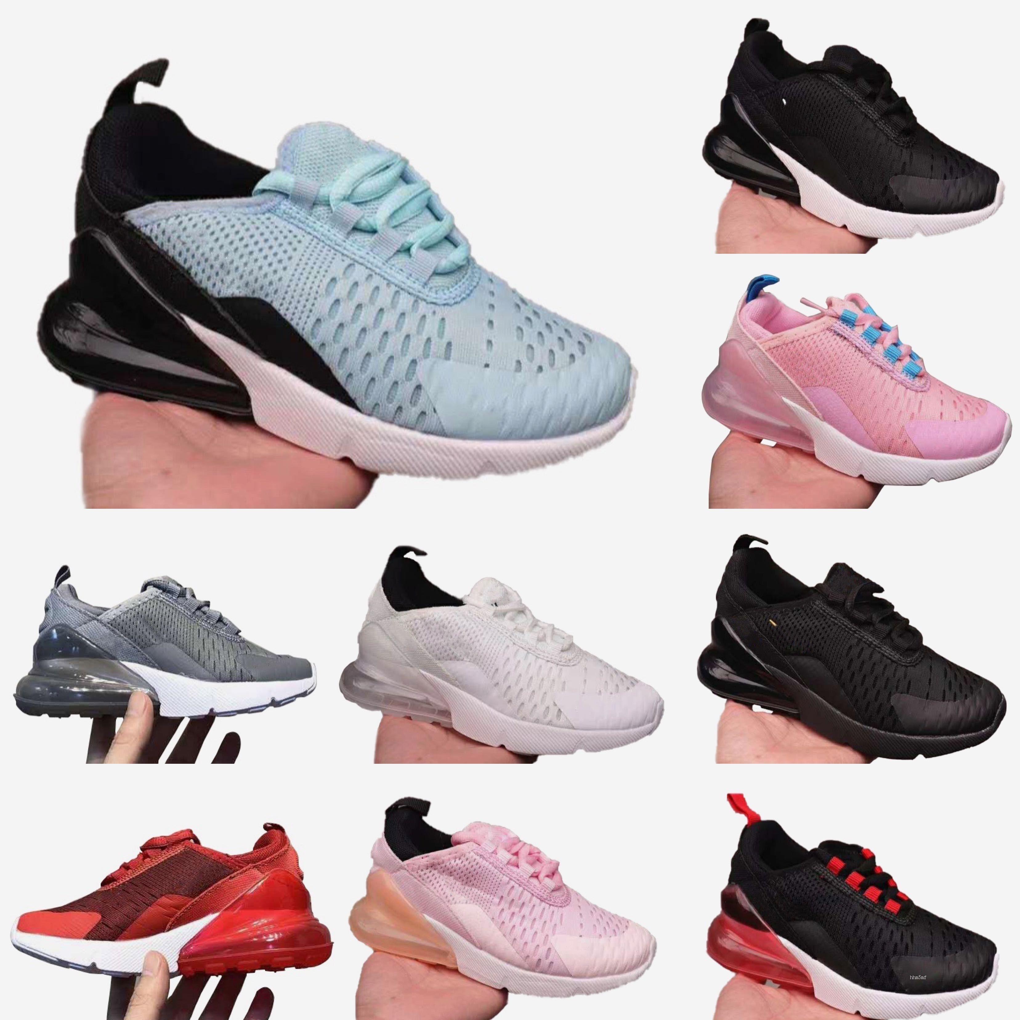 Nike air max 270 Automne Enfants Sport gris violet rose Casual Sneaker Garçons Filles entraîneur de noix de coco Mesh respirant Chaussures enfants taille 22-35