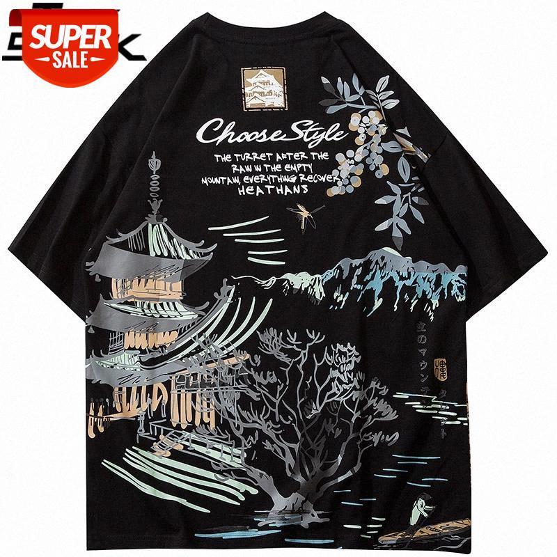 Hip Hop Streetwear T-shirt Antik Bina Ağacı Mektup Baskılı T-shirt 2021 Erkekler Harajuku Pamuk Casual Kısa Kollu Tees Tops # DJ23