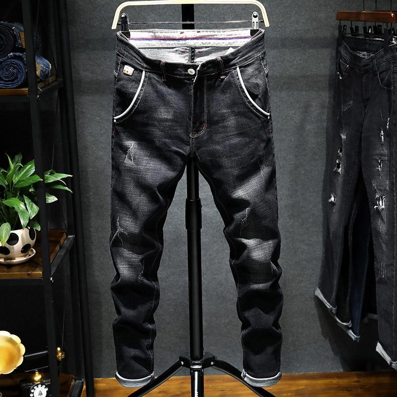 jeans e jeans homens slim fit casual solta tubo reto elásticas pequenos pés dos homens marca de moda outono quebrado buraco coreano calças moda Qw