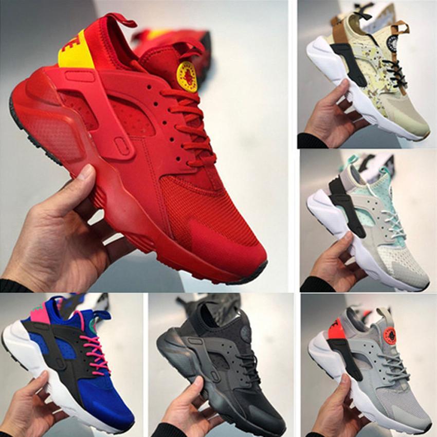 2020 Novo Huarache 4 Run Shoes para Homens Mulheres Todas as Red Whtie Huraches Homens Treinadores Hurache Homens Sport Trainers Sneakers Tamanho 36-45