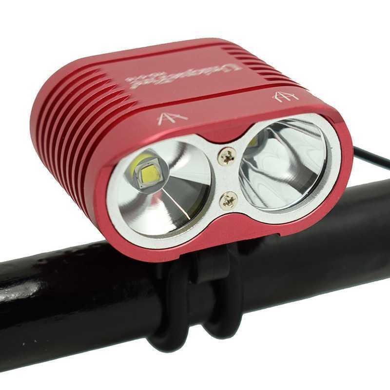 أضواء الدراجة واضطة ماء 2 * XM-L2 الصمام ضوء مصباح الأمامي دراجة mtb ركوب الدراجات 4000lm ركوب السلامة رأس مشرق جدا