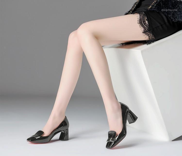 Talla grande 9 10 11 12 Damas tacones altos zapatos de mujer bombas de mujer zapatos de tacón pesado con cabeza cuadrada con hebillas metálicas1