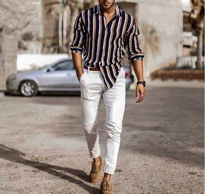 Vestido masculino camisas lazer tempo algodão homens desgaste auto-cultivo lapela listra camisa homem manga longa outono1