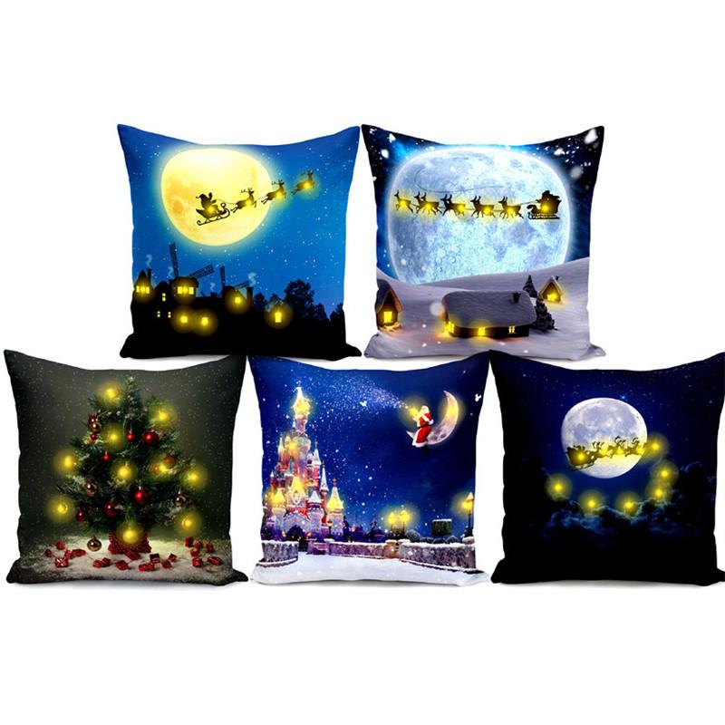 LED Pillow Case Happy Halloween Christmas Lighted Sofa Throw Pillow Case 45*45cm Home Christmas Motif Pillowcaseg EWA1840