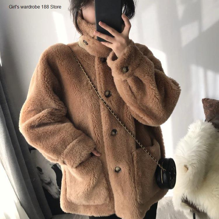 Profilo in stile coreano con lana granulare di lana da donna larga grande taglia autunno e inverno cappotto di pelliccia di lana