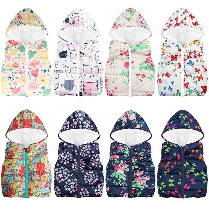 padrão de desenho animado doce de desgaste colete meninas das crianças bonito zipper jaqueta com capuz tesouro feminina sem mangas jaqueta de 0930