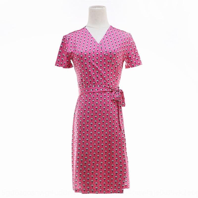 PG DVF été nouveau manches courtes mince marguerite rose wrap été PG DVF nouvelle robe wrap manches robe courte mince marguerite rose DyidA