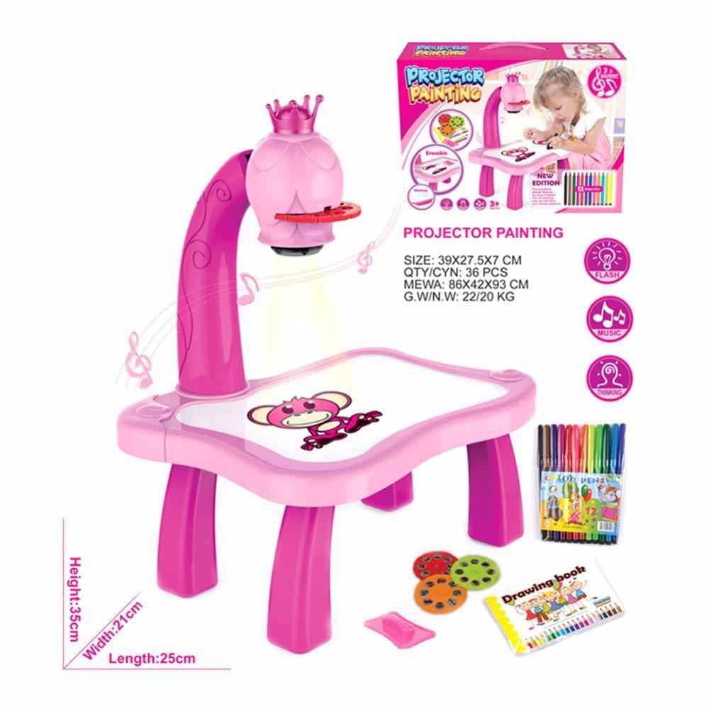 Jsxuan Aggiornato i giocattoli di pittura del proiettore 3 in 1 Proiezione puzzle Proiezione dipinta dei cartoni animati Bambini di apprendimento precoce Desk Regalo C0122
