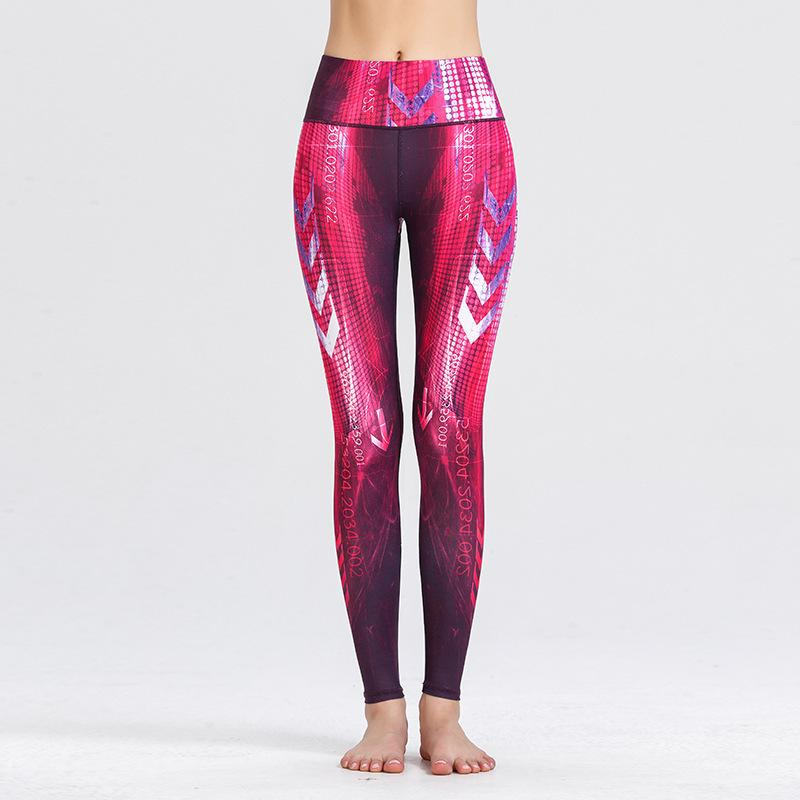 Yeni Tayt Spor kadın Yoga Pantolon Spor Pantolon Ince Zayıflama Baskılı Spor Pisti Ve Alan Koşu Egzersiz Yoga Giysileri X1227