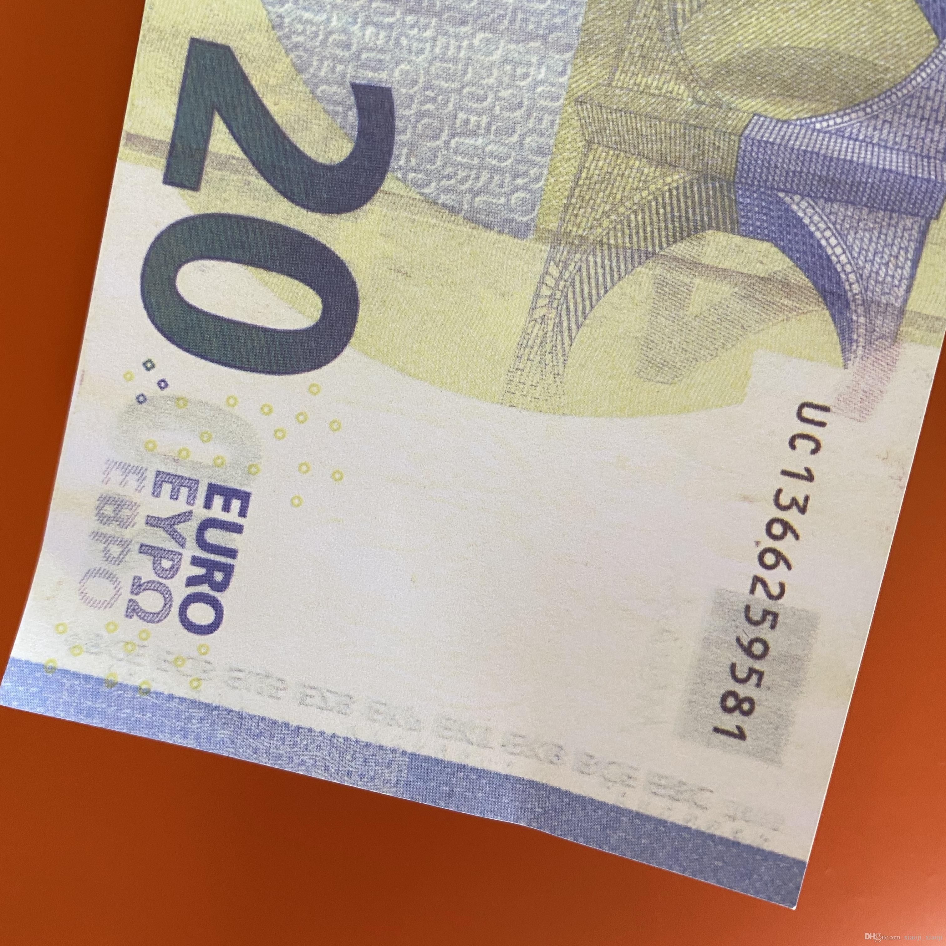 Familia 100pcs / pack Banknote de EE. UU. Dinero o copia Juego / Euro / Dólar Toy260 La mayoría de los niños Realista Prop Paper Phikn