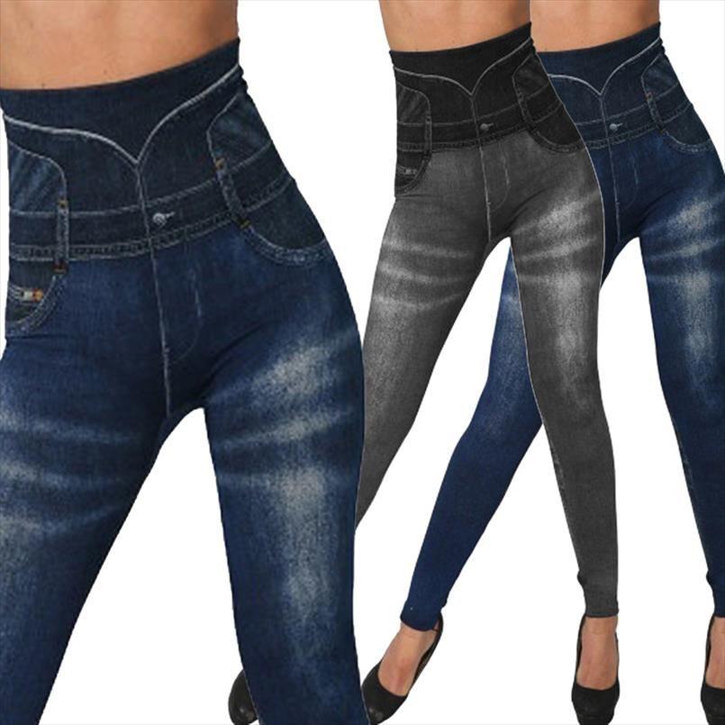 Hohe Taille Imitation Jean-Gamaschen dünne elastische Seamless Plus Size 3XL dünne Bleistift-Hose Weibliche Tasche Workout Leggings Lauf