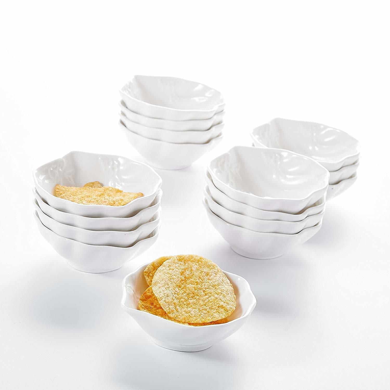 """Malacasa 16 pièces 3,5 """"En Porcelaine blanche Ivoire Mini Snack Dessert Bols Chine Céramique Crème glacée Crème de fruits (9 * 8 * 3cm) C0121"""