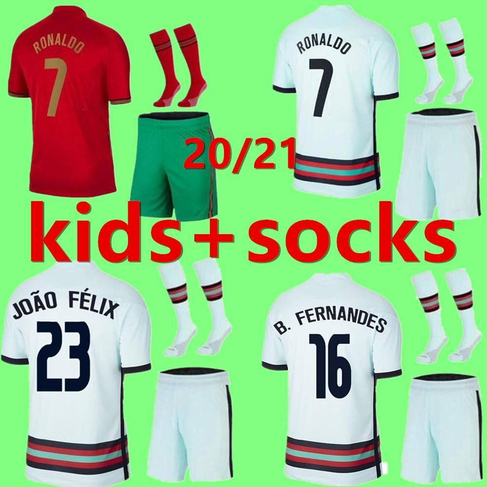 2020 2021 키트 키트 축구 유니폼 호나우두 Joao Felix 홈 멀리 소년 정장 축구 셔츠 20 21 포르투갈어 게이즈 어린이 세트 Camisa de Futebol