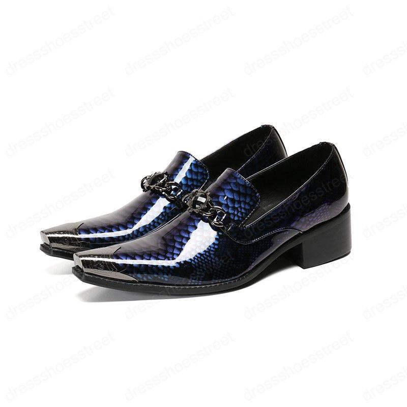 Новый Синий шаблон натуральной кожи Мужская обувь площади Металл Toe вечернее платье обувь Мужчины Большой размер 38-46 Бизнес партия Броги
