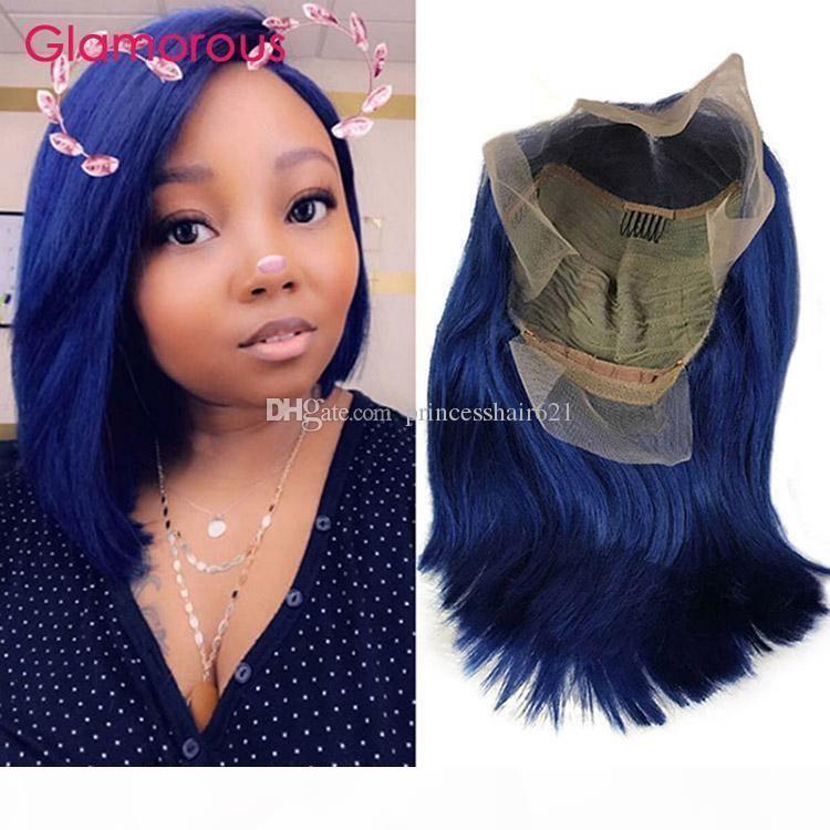 PROUCKed Blue кружевной фронт фронта с детскими волосами натуральные волосы прямые бразильские реми REMY короткие человеческие волосы боба парики для черных женщин