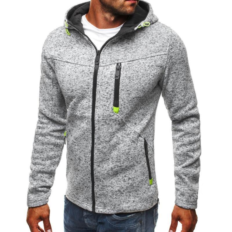 Новые зимние мужские флисовые толстовки куртка толстые теплые контрастный цвет тонкий молния карманная толстовка повседневная осень плюс размер пальто с капюшоном 3 цвета