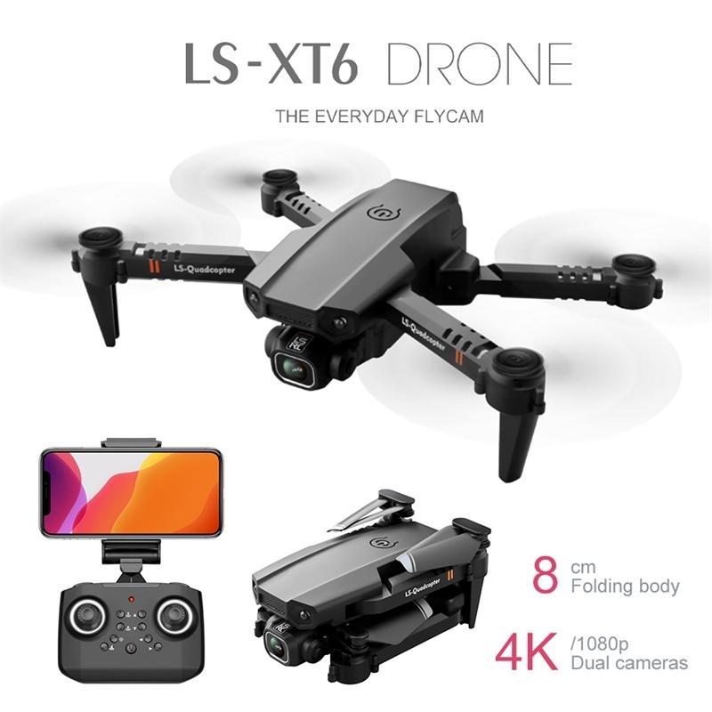 Neue Mini RC DRONE XT6 4K 1080P HD Doppelkamera WiFi FPV Luftdruckhöhe Hold Faltbare Quadcopter GPS DRON FÜR JUNGE TOWS 201221
