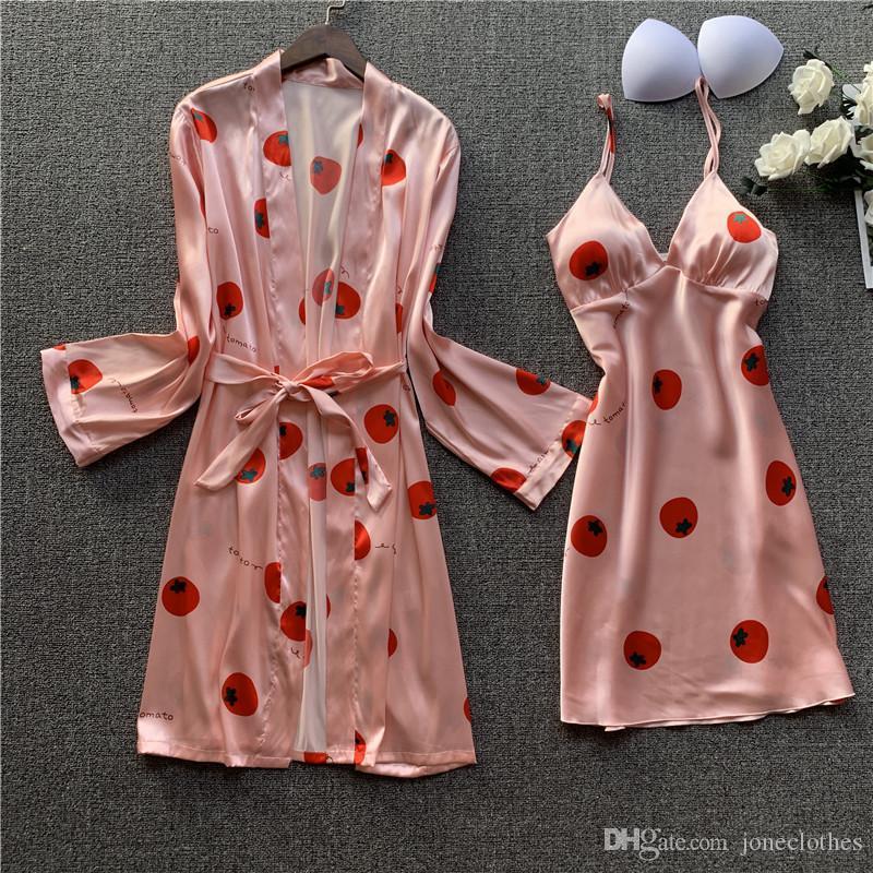 Rosa Impresso Mulheres Robe Set Satin Silky 2 Pcs Sleepwear Feminino Nightyrobe Set Causal Sono Verão Solto Roupas Home