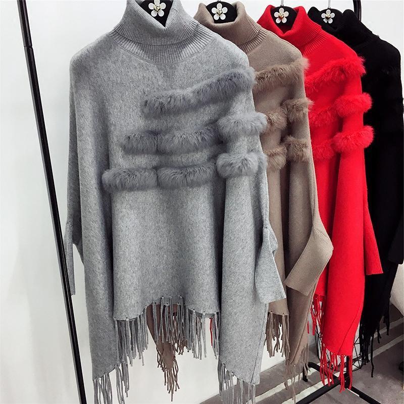 Il nuovo modo autunno donne di inverno e di alta collo di pelliccia vera Mantello Pullover Lady Bat maniche Tassel Poncho Sweater Maglieria