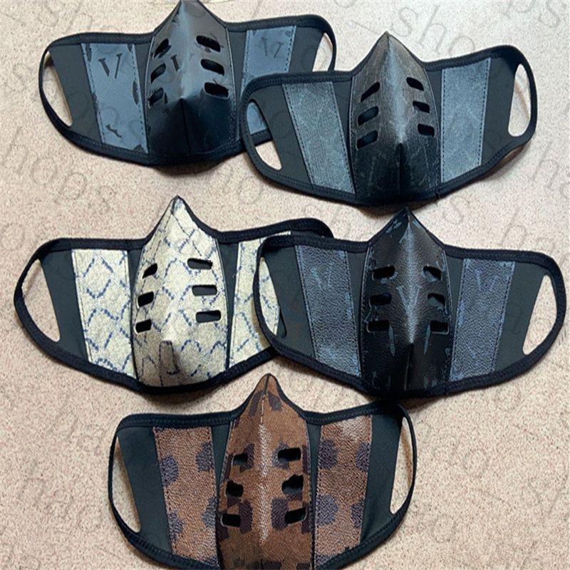 Unsesiex Gesichtsmasken PU-Leder Staubdichte Atmungsaktive Gesichtsmasken Mode Druck Männer Frauen Mund Masken Outdoor Durable Schutzmaske 13style