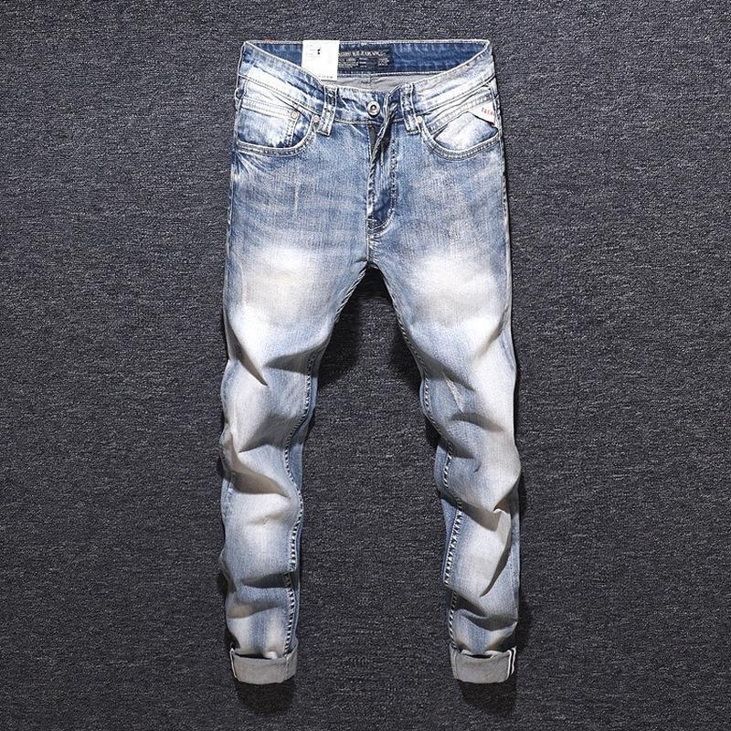 2020 Nova Retro e Jeans sólido cor de água Lavar Zipper Slim Old Men simples Jeans para homens Outono Mens Hetero Casual
