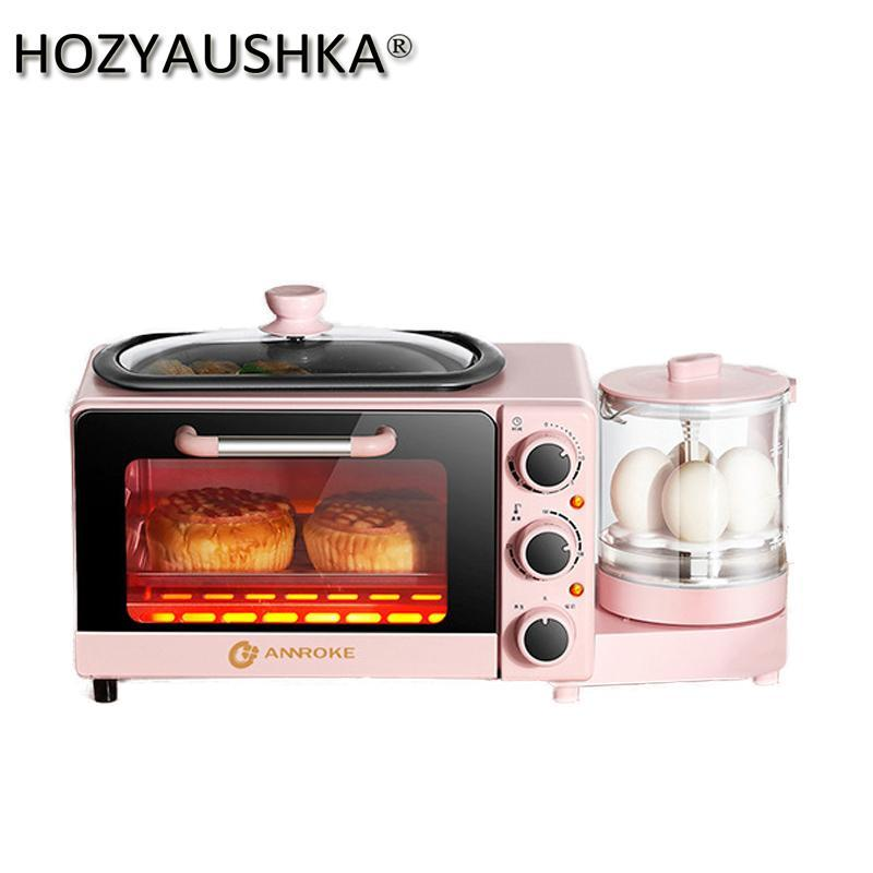 Torradeira casa máquina de café da manhã pequena multi-função automática quatro em um forno