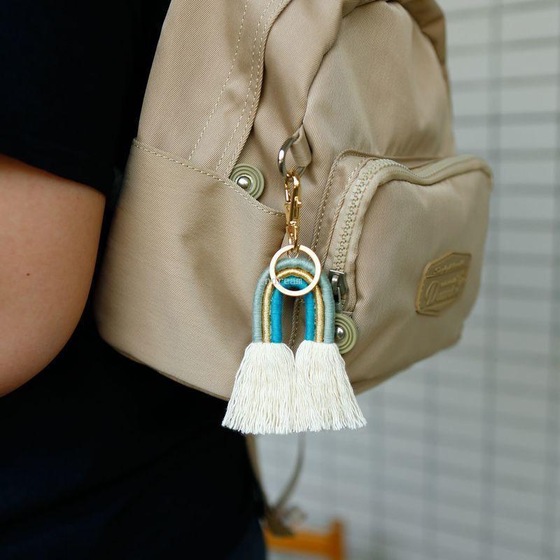 Le donne fatte a mano Boho Rainbow Tassel Portachiavi BAG HANDS HANDS HOLDER KEY HOLDE GIOIELLI DI MONI gioielli Volontà e regalo sabbioso