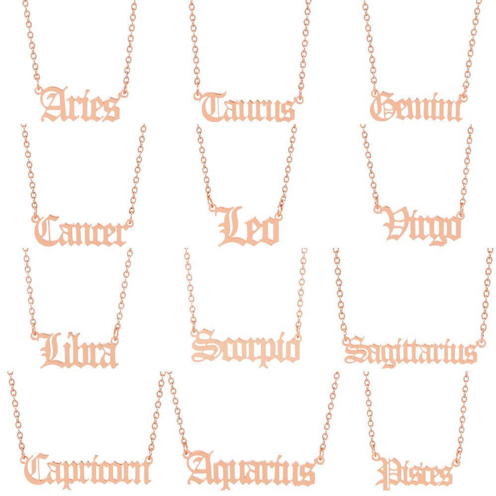 Mode Acier inoxydable 12 Constellations Colliers 3 Couleurs Douze constellations Zodiac Signes Femmes Men Lettre Pendentif Collier Bijoux