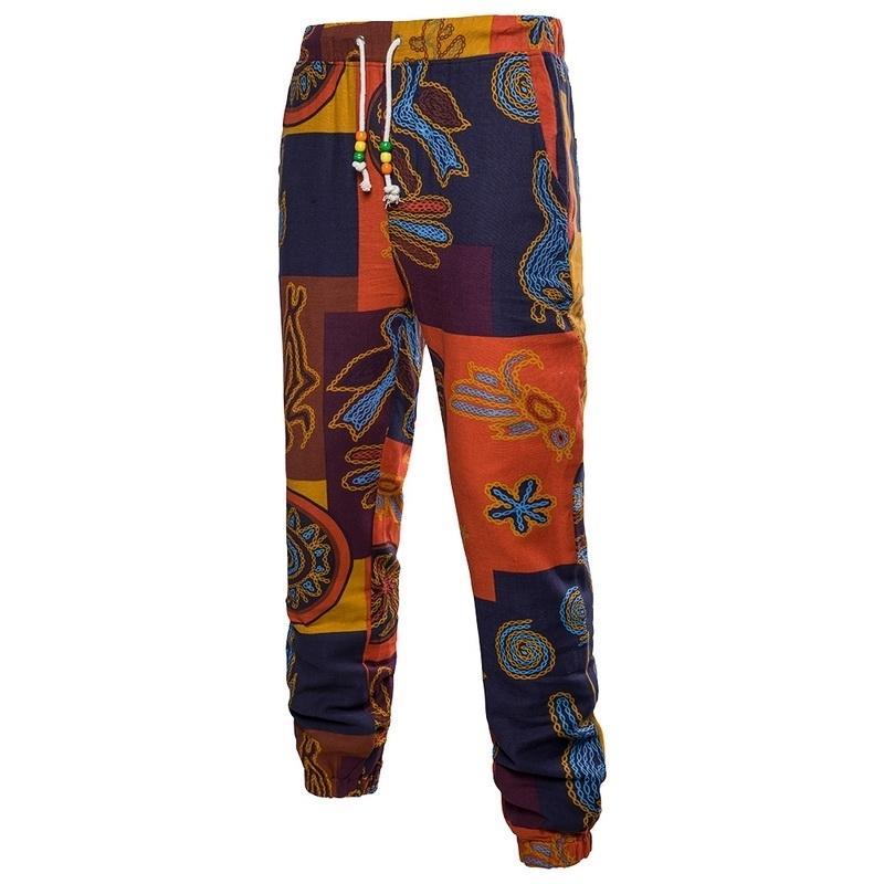 SoDthing Mens Drawstring Floral Print Sweatpants Sweatpants Masculino Masculino Casual Calças de Fitness Pants Solto Calças Plus Size 201110