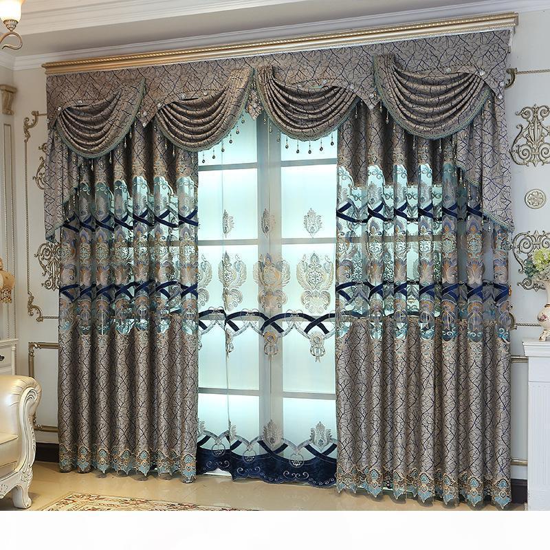 Di alta qualità europea solubile in acqua tende per il salone inferiore Jacquard cuciture blu pavone ricamato tenda pura