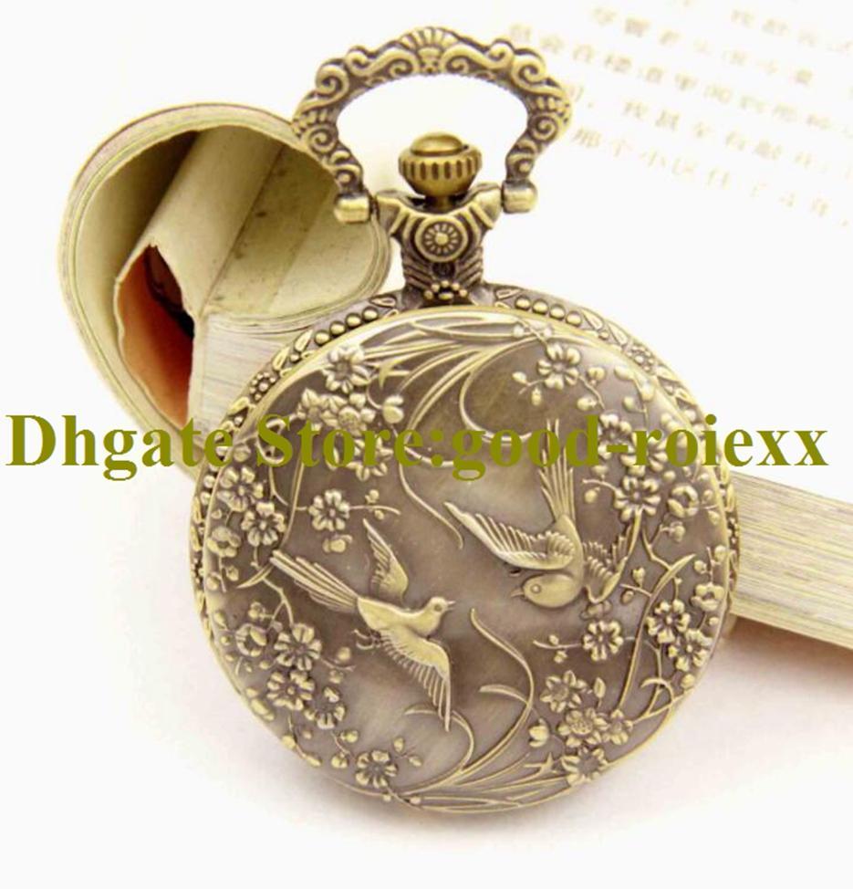 Presente Antique estilo vintage vintage relógio de bolso relógio de colar acessórios camisola cadeia senhoras pendurado mens espelho ladys AA00205