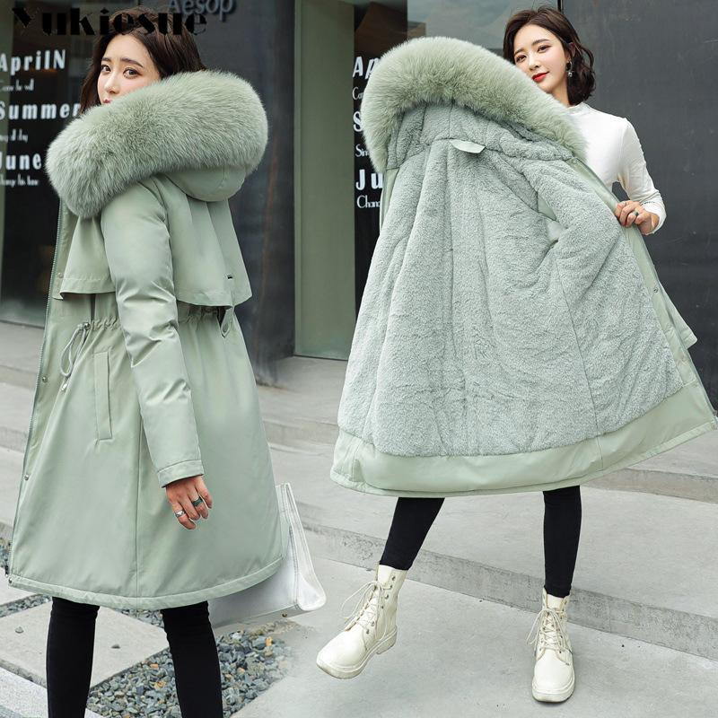 New Cotton Thicken Warm Winter Jacket Coat Women Casual Parka Winter Clothes Fur Lining Hooded Parka Mujer Coats PLus size 210203