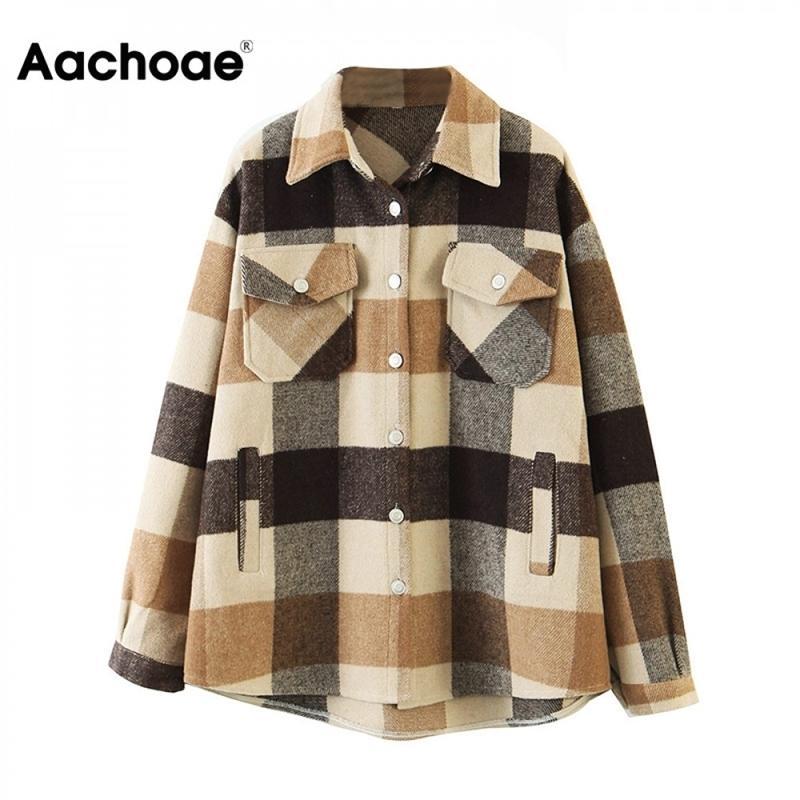 AA ACHOAE Свободная повседневная шерстяная куртка для клетки для шерсти Женщины отключить воротник моды с карманами Осень с длинными рукавами Женские куртки Y201012