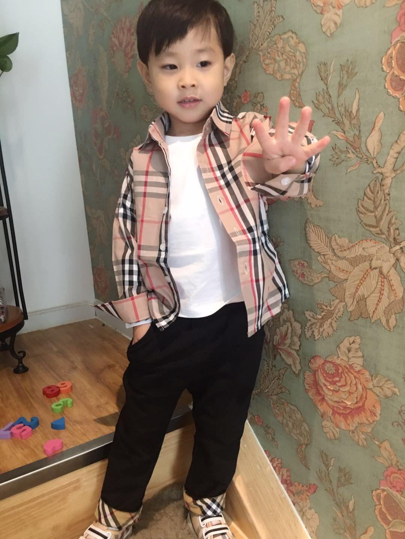 전체 봄 가을 소년 셔츠 캐주얼 턴 다운 칼라 슬리브 격자 무늬 어린이 셔츠 3-7 세 아기 의류