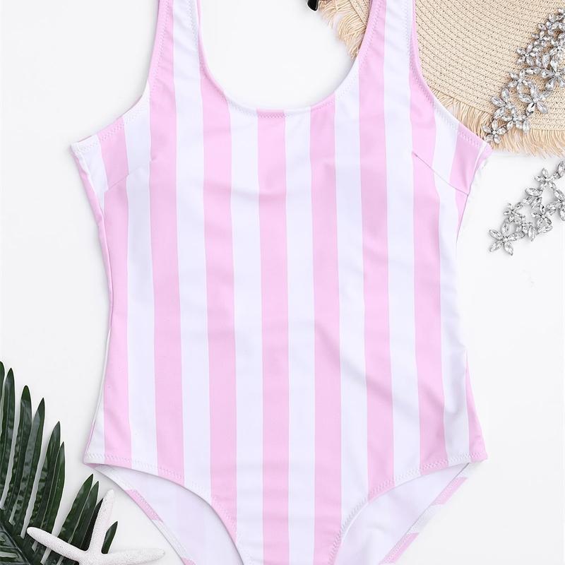 Kadın Tek Parça Mayo Pembe Çizgili Monokini Push Up Biquini Mayo Yüzmek Yüzmek Yastıklı Backless Bodysuit Trajes De Bano Y200824